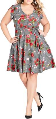 City Chic Sloane Flower Fit & Flare Dress
