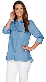 "C. Wonder Button Front Woven ""Carrie"" Blouse w/Patch Pockets"