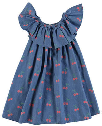 Stella McCartney Chambray Cherry-Print Ruffle-Collar Dress, Size 4-14