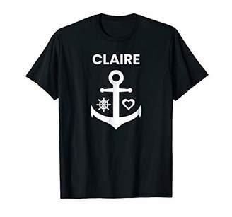 Claire cruising nautical marine anchor captain name tshirt