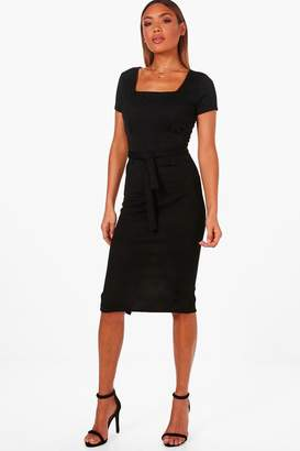 boohoo Square Neck Pleat Front Dress