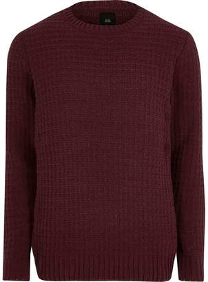 River Island Mens Burgundy textured chenille knit jumper