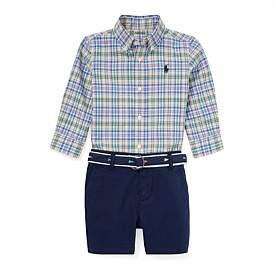 Polo Ralph Lauren Plaid Shirt, Belt & Short Set (3-24 Months)