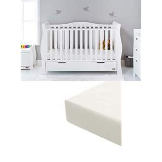 O Baby Obaby Stamford Sleigh Luxe Cot Bed and Foam Mattress - White