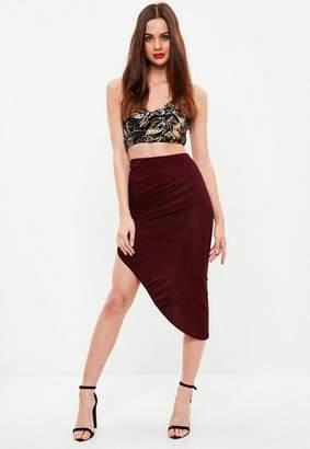 Missguided Burgundy Ruched Side Asymmetric Midi Skirt
