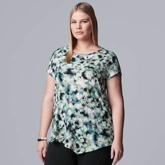 84a0df270ab Vera Wang Plus Size Simply Vera Asymmetrical Textured Print Tee