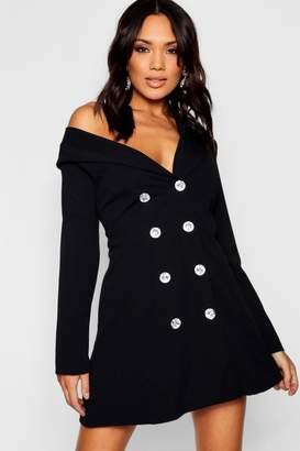 boohoo One Shoulder Diamante Button Blazer Dress
