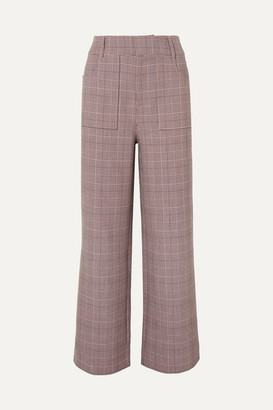 Ganni Hewitt Checked Cady Straight-leg Pants - Blush