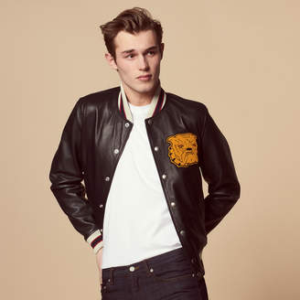 Sandro Leather varsity jacket with patch