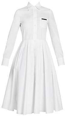 Prada Women's Poplin Circle Skirt Shirtdress