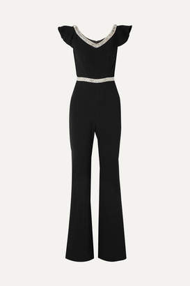 Rachel Zoe Reeda Off-the-shoulder Embellished Crepe Jumpsuit - Black