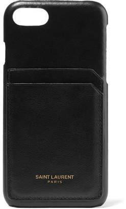 Saint Laurent Printed Textured-leather Iphone 8 Case - Black