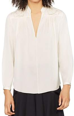 Halston Long-Sleeve Floral-Embroidered Top