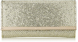 Jimmy Choo MILLA Champagne Glitter Fabric Clutch Bag