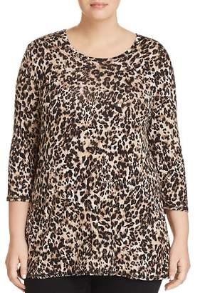 Bobeau B Collection by Curvy Leopard-Print Tunic Tee