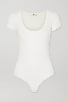 A Gold E AGOLDE - Ribbed Stretch-jersey Thong Bodysuit - White