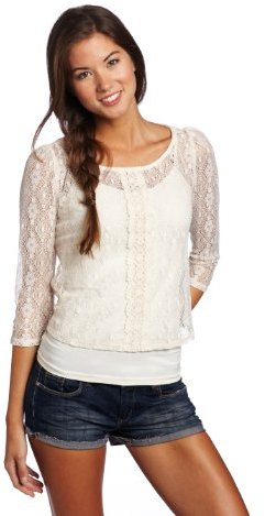 Love Squared Juniors Lace Button Front Top