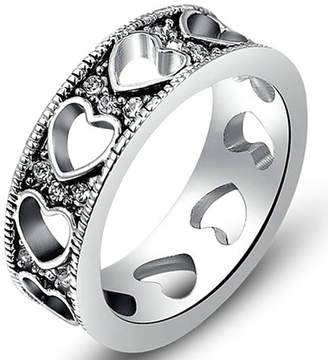 Aokarry Wedding Ring, Silver Plated Vintage Hollow Heart Engagement Wedding Ring Women