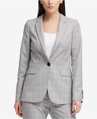 DKNY One-Button Plaid Classic Jacket, Created for Macy's