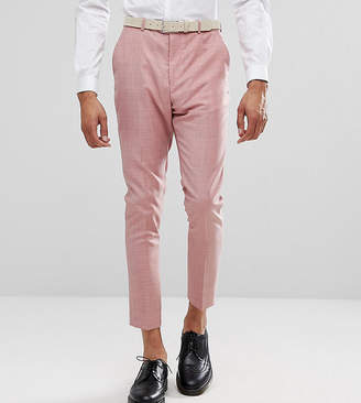 Asos Design TALL WEDDING Tapered Smart Pants In Pink 100% Wool