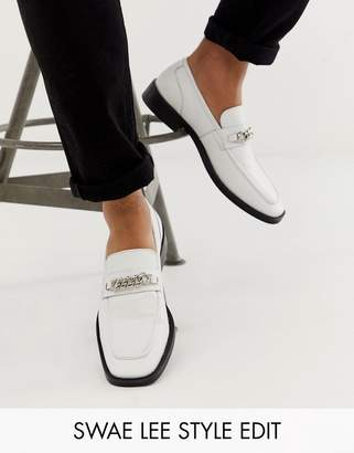 Asos Design DESIGN square toe loafers in white with chain