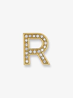 Michael Kors Pave Gold-Tone Alphabet Pin