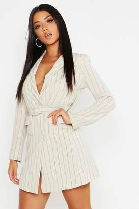 boohoo Pinstripe O Ring Belted Blazer Dress