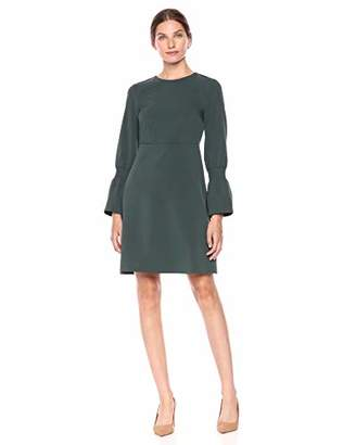 Lark & Ro Amazon Brand Women's Stretch Twill Gathered Sleeve Crew Neck Dress