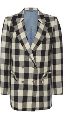 Blazé Milano Pequod Check Double-Breasted Linen Blazer