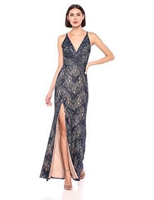 Dress the Population Women's Iris Plunging Spaghetti Strap Sleeveless Long Gown Dress