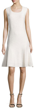 St. John Collection Mili Flared Scoop-Neck Dress, Alabaster $1,195 thestylecure.com