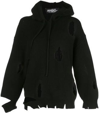 Jeremy Scott destroyed hooded jumper