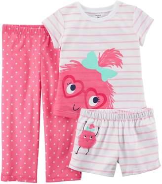 Carter's Baby Girl 3-pc. Monster Striped & Polka Dot Pajama Set