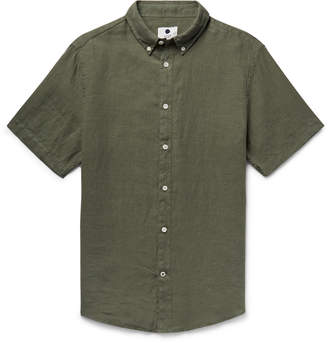 NN07 New Derek Button-Down Collar Garment-Dyed Linen Shirt - Men - Green
