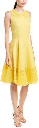 Three Dots Eyelet Linen A-Line Dress