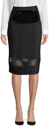 Donna Karan Pleated Velvet A-Line Skirt