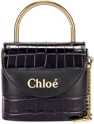 Chloé Small Abylock Embossed Croc Padlock Bag in Full Blue | FWRD