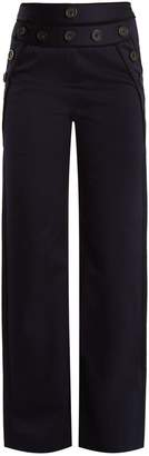 Self-Portrait High-rise wide-leg cotton-blend twill trousers
