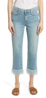Frame Le Nouveau Shredded Straight Leg Crop Jeans