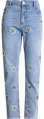Zoe Karssen Appliquéd Distressed High-Rise Staight-Leg Jeans