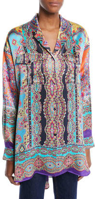 Etro Long-Sleeve Button-Front Equipment-Pocket Harlem-Print Oversized Silk Shirt