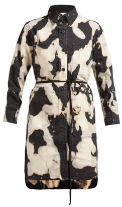 Proenza Schouler Pswl - Tie Dye Effect Denim Shirtdress - Womens - Black White