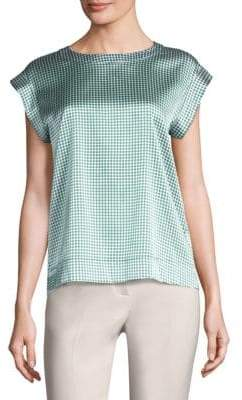 Peserico Polka Dot-Print Short-Sleeve Top