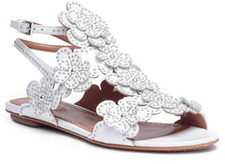 Alaia White leather floral flat sandals