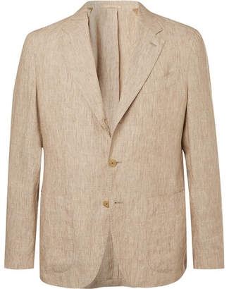 Caruso Stone Butterfly Unstructured Washed-Linen Suit Jacket