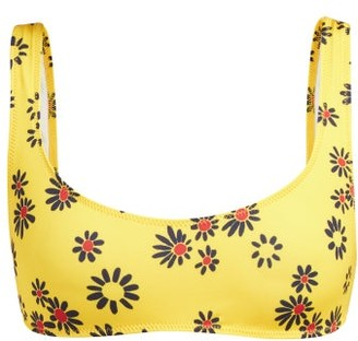 Solid & Striped The Elle Daisy Print Bikini Top - Womens - Yellow Print