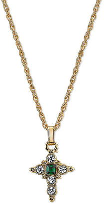 1928 SYMBOLS OF FAITH 1928 Symbols Of Faith Religious Jewelry Womens Green Cross Pendant Necklace