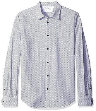 Calvin Klein Jeans Men's Dobby Weave Mini Squares Long Sleeve Button Down Shirt