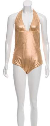 Versace Metallic Halter One- Piece Swimsuit w/ Tags