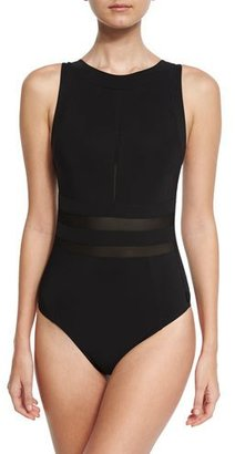 Shan Mesh-Insert High-Neck One-Piece Swimsuit, Black $335 thestylecure.com